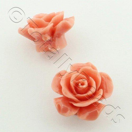 Acrylic Rose 15mm 1 Row - Salmon 4pcs