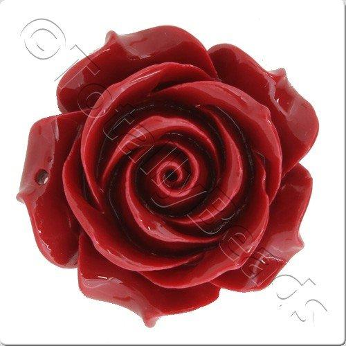 Acrylic Rose 35mm Pendant - Red