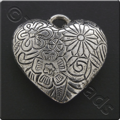 Metalised Antique Silver Heart 34x34x7mm