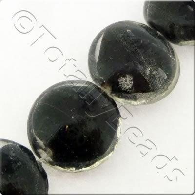 "Lampwork Disc 20mm - Clear & Black Core - 16"" String"