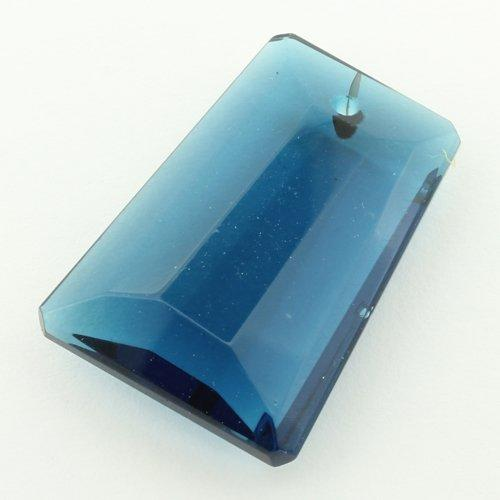 Glass Pendant Facet Rectangle Drop 20mm - Teal