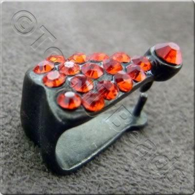 Black Red Diamante Bail - 14mm