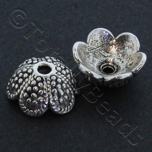 Antique Silver Bead Cap - Spotty Petal 13mm 10pcs