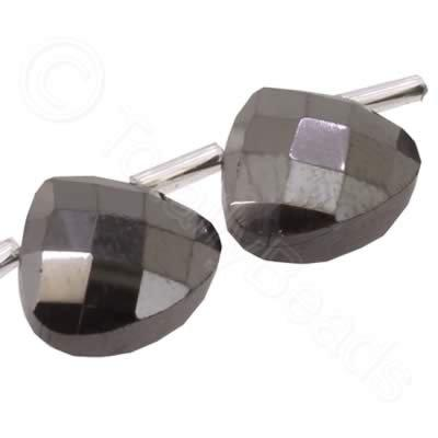 Crystal Flat Drop 10mm - Black Diamond