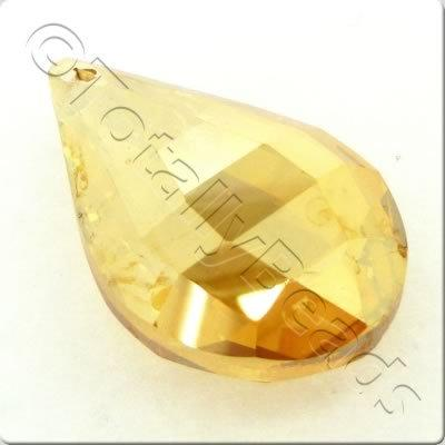 Crystal Pendant - Drop 38x24mm - Light Topaz Shiny