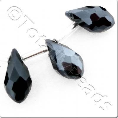 Crystal Drop Top Drilled 6x12mm - Hematite