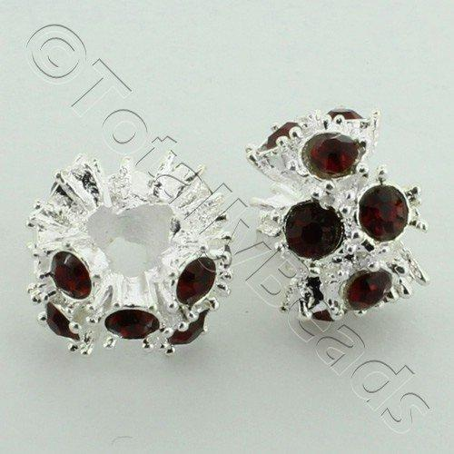 Large Hole Rhinestone Spacer 12mm - Red