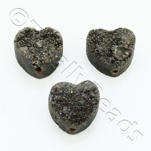 Druzy Bead Heart 12mm - Grey Plate