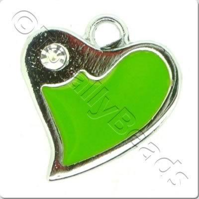 Enamal Charm - Fluted Heart - Green
