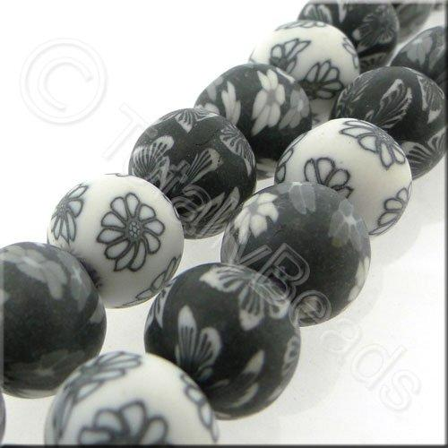 Fimo 12mm Round Beads - Black White n Grey Mix