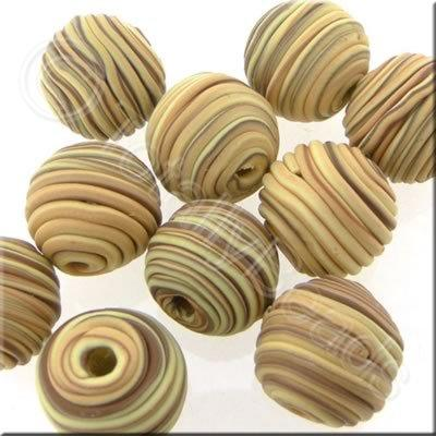 Fimo Candy Stripe Round Bead - Earth