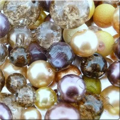 Mixed Glass Beads - Brown Shades  - Tube