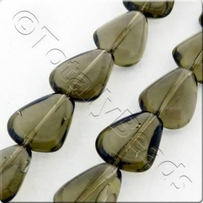 Glass Rounded Triangle Drop - 15x12mm - Grey - 21pcs