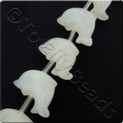 Glass Dolphin - 17mm - Opal White - 19pcs