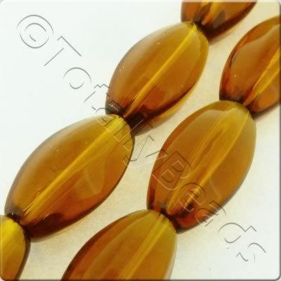 Glass Pentagon Oval - 18x10mm - Brown - 19pcs