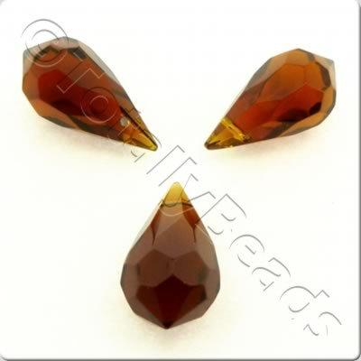 Faceted Teardrop 20x10mm - Brown