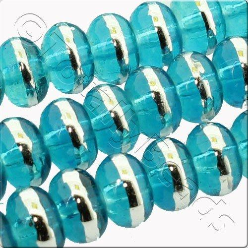 Half Silver 6x4mm Rondelle Glass Bead - Turquoise