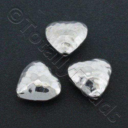 Antique Silver Hammered Puffed Heart 15x14mm 4pcs