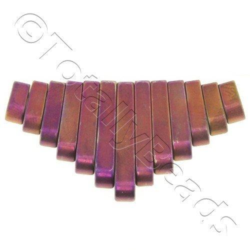 Hematite Egyptian Collar 13pc Matt Purple Plated
