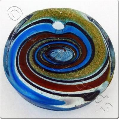 Lampwork Pendant - Curved Disc 40mm - LPT03