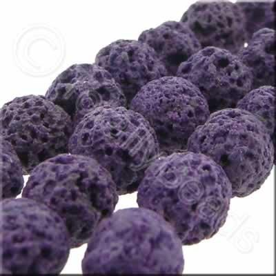 Lava Stone Bead - 6mm Round - Purple
