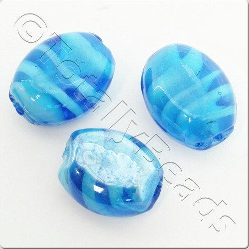 Lampwork Glass Bead Oval 23mm - Blue Ocean Swirl