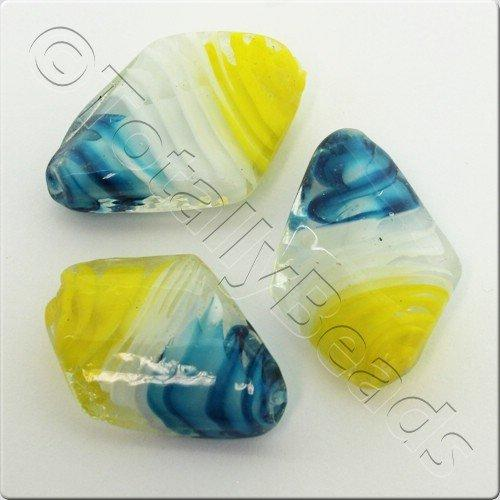 Lampwork Glass Bead 31mm - Yellow White Blue Diamond