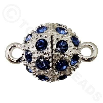 Magnetic Clasp Spotted Round 12mm Blue Crystals - Silver