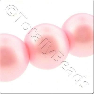 Glass Pearl Round Matt Finish - Bright Pink
