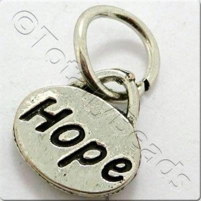 Tibetan Silver Message Tag/Charm - Hope