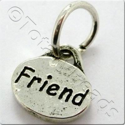 Tibetan Silver Message Tag/Charm - Friend