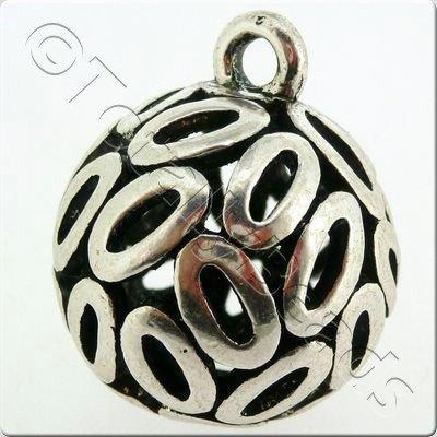 Tibetan Silver Hollow Ball Ovals Pendant 26mm