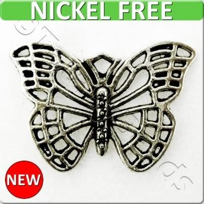 Antique Silver Metal Charm - Butterfly 18x26mm 8pcs - A13931
