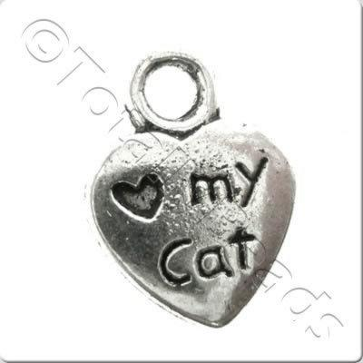Tibetan Silver Charm - Love Cat Heart