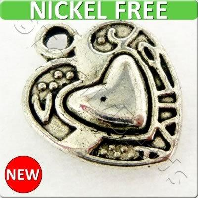 Antique Silver Metal Charm - Heart 12x15mm 15pcs - A0055