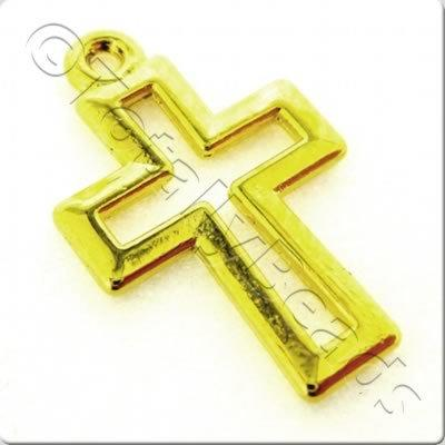 Tibetan Silver Charm - Small Cross - Gold