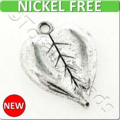 Antique Silver Metal Charm - Heart Leaf 16x21mm 10pcs - K544