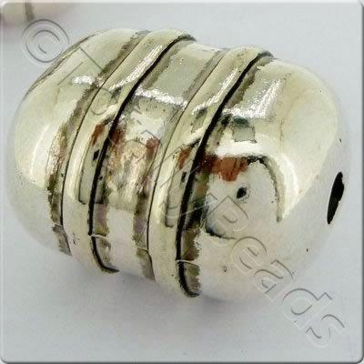 Acrylic Antique Silver Bead - Rectangle Barrel 27mm