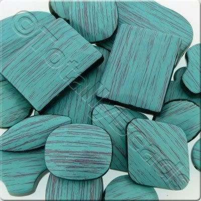 Acrylic Turquoise Wood Effect Beads Mix