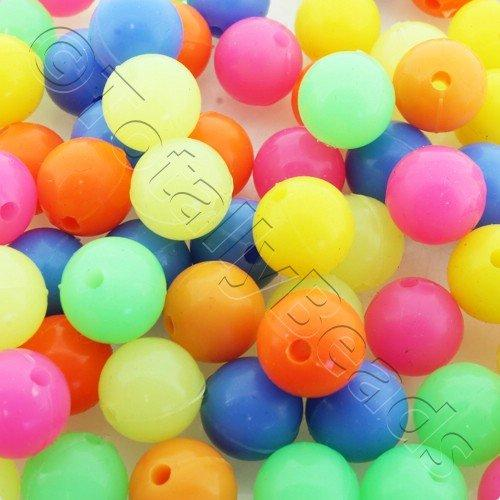 Rubber Beads 12mm Round Mixed 50pcs