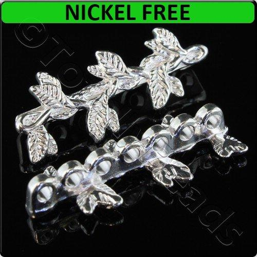 Silver Metal Spacer Bar 7 Hole Leaves 32x12mm 4pcs