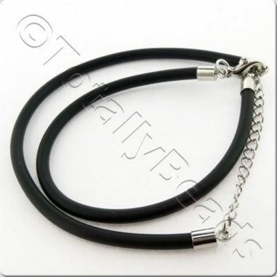 Black Necklace Cord - Twin Rubber 3mm