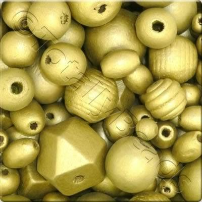 Wooden Bead Gold Mix