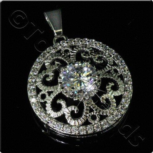 Pave Crystal Pendant - Silver Filigree Disc