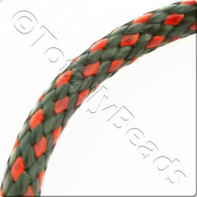 Plaited Wax Cord 4mm - Black and Red