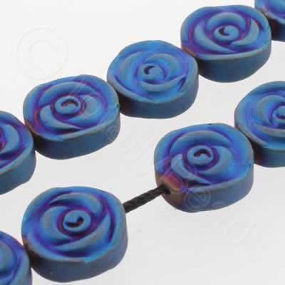 Hematite Rose Disc 12mm - Matt Blue Plated