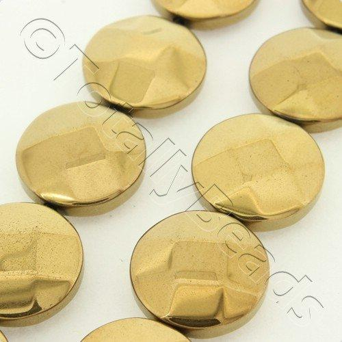 Hematite Facet Disc 12mm - Bronze Plated