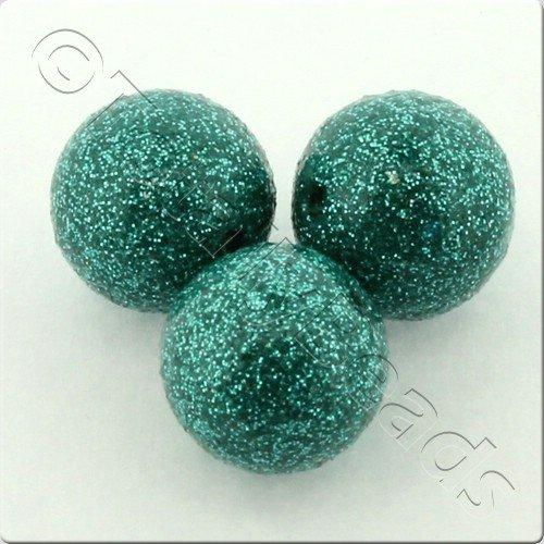 Resin Glitter Round 10mm Bead - Teal