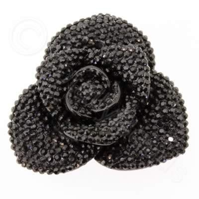 Resin Sparkle 3 Point Flower 40mm - Black