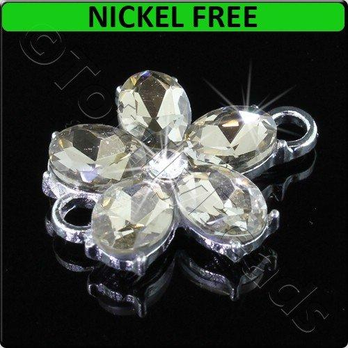 Silver Metal Connector Flower Champagne Crystal 20x25mm